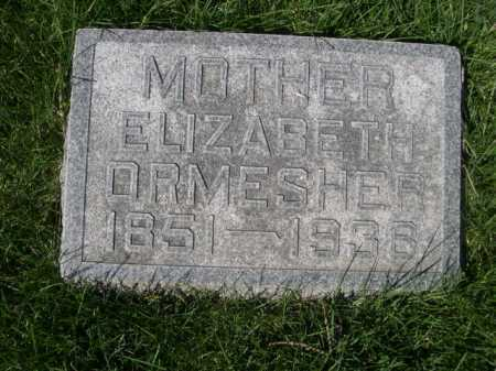 ORMESHER, ELIZABETH - Dawes County, Nebraska   ELIZABETH ORMESHER - Nebraska Gravestone Photos