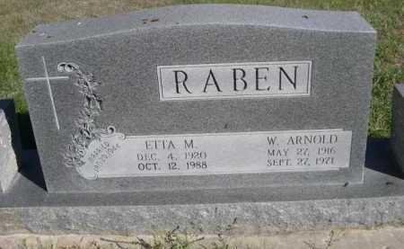 RABEN, W. ARNOLD - Dawes County, Nebraska | W. ARNOLD RABEN - Nebraska Gravestone Photos