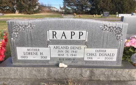 RAPP, ARLAND DENIS - Dawes County, Nebraska | ARLAND DENIS RAPP - Nebraska Gravestone Photos