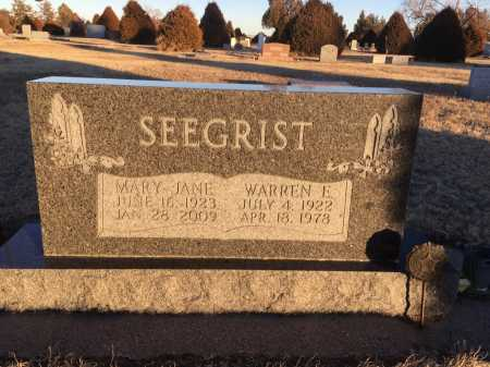 SEEGRIST, MARY JANE - Dawes County, Nebraska | MARY JANE SEEGRIST - Nebraska Gravestone Photos