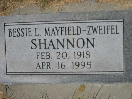 MAYFIELD-ZWEIFEL SHANNON, BESSIE L. - Dawes County, Nebraska | BESSIE L. MAYFIELD-ZWEIFEL SHANNON - Nebraska Gravestone Photos