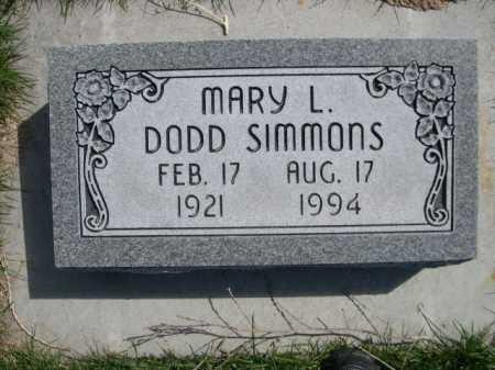 DODD SIMMONS, MARY L. - Dawes County, Nebraska | MARY L. DODD SIMMONS - Nebraska Gravestone Photos