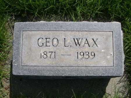 WAX, GEO. L. - Dawes County, Nebraska   GEO. L. WAX - Nebraska Gravestone Photos