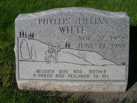 WITTE, PHYLLIS LILLIAN - Dawes County, Nebraska   PHYLLIS LILLIAN WITTE - Nebraska Gravestone Photos