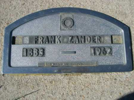 ZANDER, FRANK - Dawes County, Nebraska | FRANK ZANDER - Nebraska Gravestone Photos