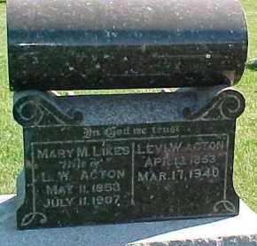 LIKES ACTON, MARY M. - Dixon County, Nebraska | MARY M. LIKES ACTON - Nebraska Gravestone Photos