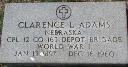 ADAMS, CLARENCE L. (WW I MARKER) - Dixon County, Nebraska | CLARENCE L. (WW I MARKER) ADAMS - Nebraska Gravestone Photos