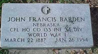 BARDEN, JOHN F. (WW I MARKER) - Dixon County, Nebraska | JOHN F. (WW I MARKER) BARDEN - Nebraska Gravestone Photos