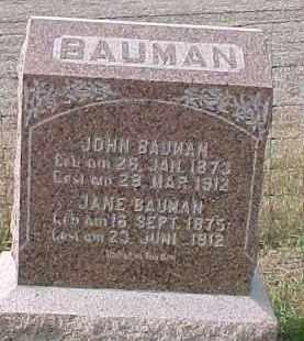 BAUMAN, JANE - Dixon County, Nebraska | JANE BAUMAN - Nebraska Gravestone Photos