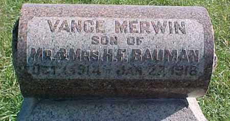 BAUMAN, VANCE - Dixon County, Nebraska | VANCE BAUMAN - Nebraska Gravestone Photos