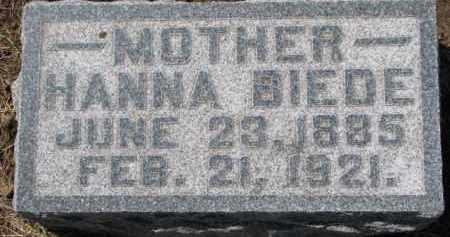 BIEDE, HANNA - Dixon County, Nebraska   HANNA BIEDE - Nebraska Gravestone Photos