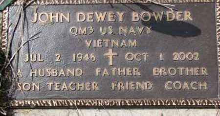 BOWDER, JOHN DEWEY (MILITARY MARKER) - Dixon County, Nebraska | JOHN DEWEY (MILITARY MARKER) BOWDER - Nebraska Gravestone Photos