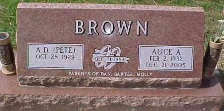 BROWN, ALICE A - Dixon County, Nebraska | ALICE A BROWN - Nebraska Gravestone Photos