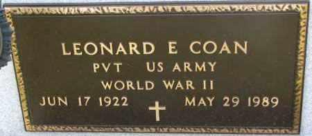 COAN, LEONARD E. (WW II MARKER) - Dixon County, Nebraska   LEONARD E. (WW II MARKER) COAN - Nebraska Gravestone Photos