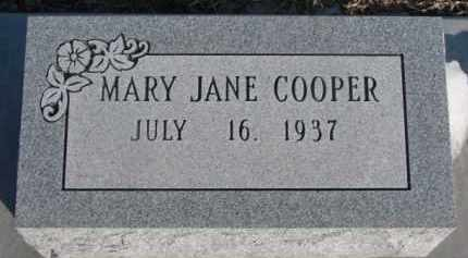 COOPER, MARY JANE - Dixon County, Nebraska | MARY JANE COOPER - Nebraska Gravestone Photos