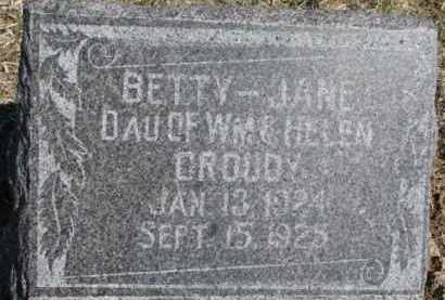 CROUDY, BETTY JANE - Dixon County, Nebraska | BETTY JANE CROUDY - Nebraska Gravestone Photos