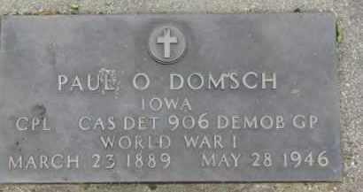 DOMSCH, PAUL O. (WW I MARKER) - Dixon County, Nebraska | PAUL O. (WW I MARKER) DOMSCH - Nebraska Gravestone Photos