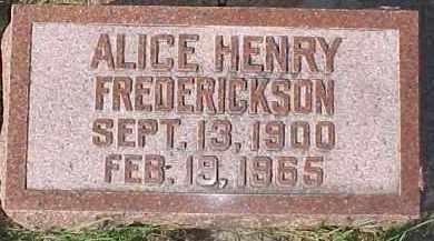 FREDERICKSON, ALICE - Dixon County, Nebraska   ALICE FREDERICKSON - Nebraska Gravestone Photos
