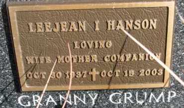 HANSEN, LEEJEAN I - Dixon County, Nebraska | LEEJEAN I HANSEN - Nebraska Gravestone Photos