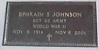 JOHNSON, EPHRAIM S. (WW II MARKER) - Dixon County, Nebraska | EPHRAIM S. (WW II MARKER) JOHNSON - Nebraska Gravestone Photos