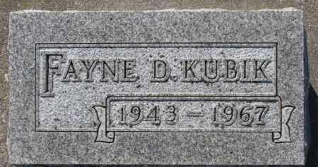 KUBIK, FAYNE D. - Dixon County, Nebraska | FAYNE D. KUBIK - Nebraska Gravestone Photos