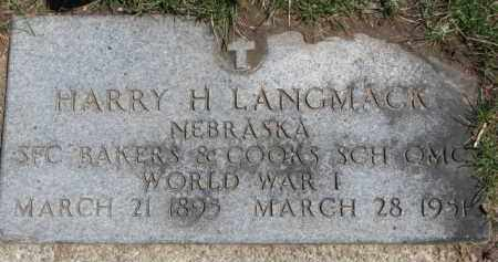 LANGMACK, HARRY H. (WW I MARKER) - Dixon County, Nebraska | HARRY H. (WW I MARKER) LANGMACK - Nebraska Gravestone Photos