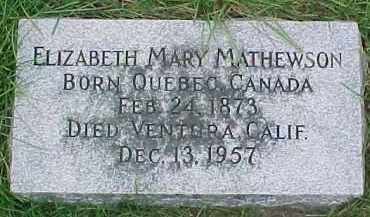 MATHEWSON, ELIZABETH MARY - Dixon County, Nebraska | ELIZABETH MARY MATHEWSON - Nebraska Gravestone Photos