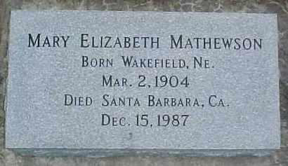 MATHEWSON, MARY ELIZABETH - Dixon County, Nebraska | MARY ELIZABETH MATHEWSON - Nebraska Gravestone Photos