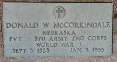 MCCORKINDALE, DONALD W. (WW I MARKER) - Dixon County, Nebraska | DONALD W. (WW I MARKER) MCCORKINDALE - Nebraska Gravestone Photos
