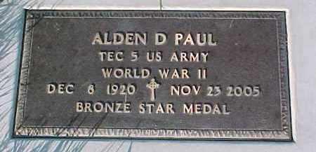 PAUL, ALDEN D. (WW II MARKER) - Dixon County, Nebraska | ALDEN D. (WW II MARKER) PAUL - Nebraska Gravestone Photos