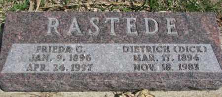 RASTEDE, DIETRICH (DICK) - Dixon County, Nebraska | DIETRICH (DICK) RASTEDE - Nebraska Gravestone Photos