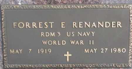 RENANDER, FORREST E. (WW II MARKER) - Dixon County, Nebraska | FORREST E. (WW II MARKER) RENANDER - Nebraska Gravestone Photos