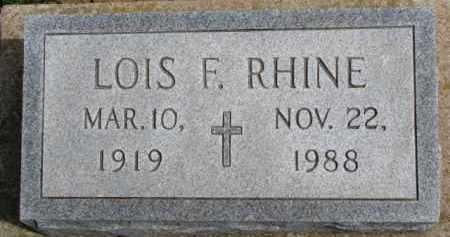 RHINE, LOIS F. - Dixon County, Nebraska   LOIS F. RHINE - Nebraska Gravestone Photos