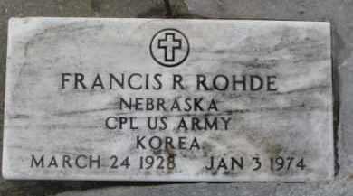 RHODE, FRANCIS R. (MILITARY MARKER) - Dixon County, Nebraska | FRANCIS R. (MILITARY MARKER) RHODE - Nebraska Gravestone Photos