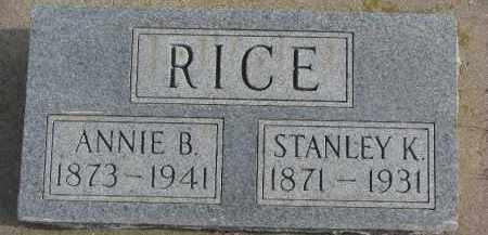 RICE, STANLEY K. - Dixon County, Nebraska | STANLEY K. RICE - Nebraska Gravestone Photos