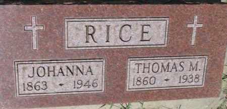 RICE, JOHANNA - Dixon County, Nebraska | JOHANNA RICE - Nebraska Gravestone Photos