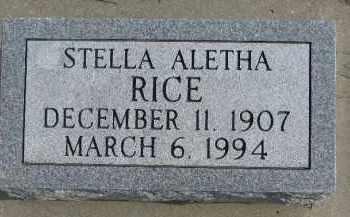 RICE, STELLA ALETHA - Dixon County, Nebraska   STELLA ALETHA RICE - Nebraska Gravestone Photos