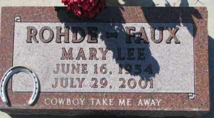 FAUX ROHDE, MARY LEE - Dixon County, Nebraska   MARY LEE FAUX ROHDE - Nebraska Gravestone Photos