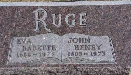 RUGE, JOHN HENRY - Dixon County, Nebraska | JOHN HENRY RUGE - Nebraska Gravestone Photos
