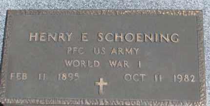 SCHOENING, HENRY E. (WW I MARKER) - Dixon County, Nebraska | HENRY E. (WW I MARKER) SCHOENING - Nebraska Gravestone Photos