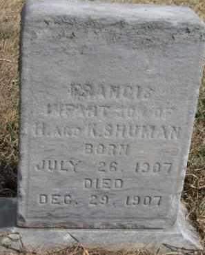 SHUMAN, FRANCIS - Dixon County, Nebraska | FRANCIS SHUMAN - Nebraska Gravestone Photos