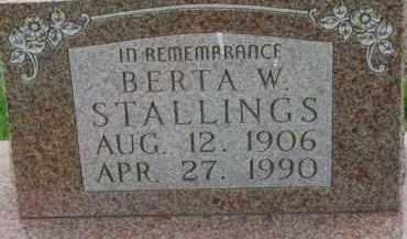 STALLINGS, BERTA W. - Dixon County, Nebraska | BERTA W. STALLINGS - Nebraska Gravestone Photos