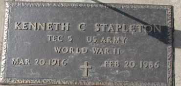 STAPLETON, KENNETH C. (WW II MARKER) - Dixon County, Nebraska   KENNETH C. (WW II MARKER) STAPLETON - Nebraska Gravestone Photos