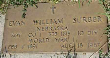 SURBER, EVAN WILLIAM (WW I MARKER) - Dixon County, Nebraska   EVAN WILLIAM (WW I MARKER) SURBER - Nebraska Gravestone Photos