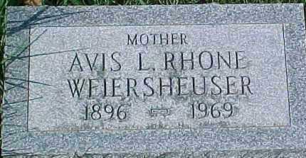 RHONE WEIERSHEUSER, AVIS L. - Dixon County, Nebraska   AVIS L. RHONE WEIERSHEUSER - Nebraska Gravestone Photos