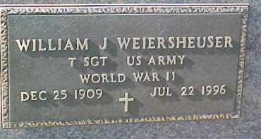 WEIERSHEUSER, WILLIAM J (WW II MARKER) - Dixon County, Nebraska | WILLIAM J (WW II MARKER) WEIERSHEUSER - Nebraska Gravestone Photos