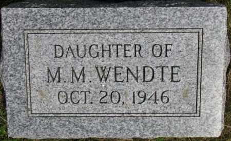 WENDTE, DAUGHTER - Dixon County, Nebraska | DAUGHTER WENDTE - Nebraska Gravestone Photos