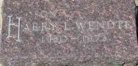 WENDTE, HARRY L. - Dixon County, Nebraska | HARRY L. WENDTE - Nebraska Gravestone Photos