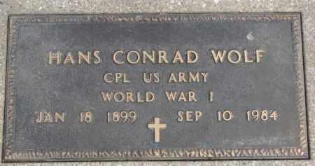 WOLF, HANS CONRAD (WW I MARKER) - Dixon County, Nebraska | HANS CONRAD (WW I MARKER) WOLF - Nebraska Gravestone Photos