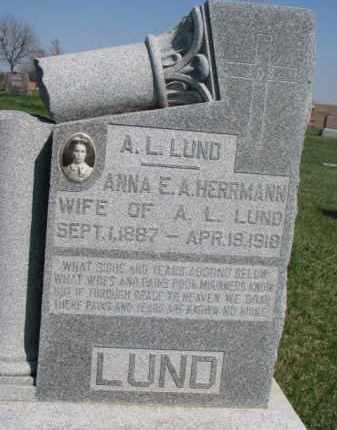 HERRMANN LUND, ANNA E. A. - Dodge County, Nebraska | ANNA E. A. HERRMANN LUND - Nebraska Gravestone Photos